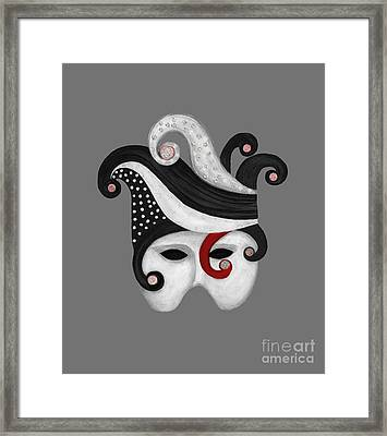 Mask In Black And White With Red Framed Print