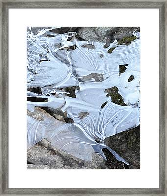 Framed Print featuring the photograph Ice Mask Abstract by Glenn Gordon