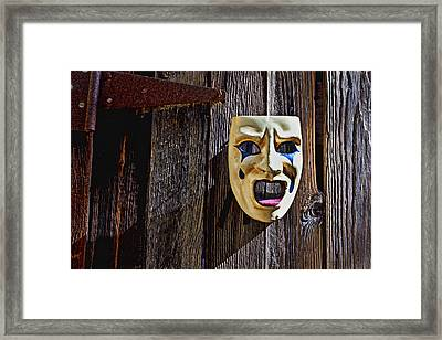 Mask On Barn Door Framed Print by Garry Gay