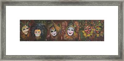 Framed Print featuring the painting Mask Row by Nik Helbig