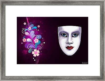 Mask With Blue Eyes Floral Design Framed Print