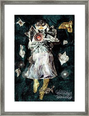 Framed Print featuring the painting Masked Angel Holding The Sun by Genevieve Esson