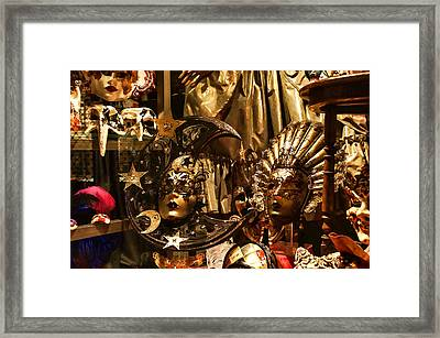 Impressions Of Venice - Sun And Moon Venetian Carnival Masks Framed Print by Georgia Mizuleva