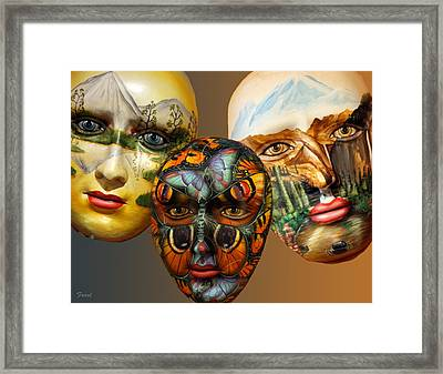 Masks On The Wall Framed Print