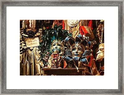 Impressions Of Venice - Venetian Carnival Masks Display Framed Print by Georgia Mizuleva