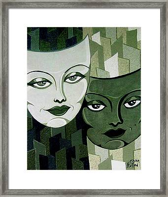Masks Verde Framed Print