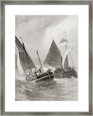 Mason And Gallop Attacking The Indians Off Block Island Framed Print by American School