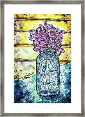Mason Jar Bouquet Framed Print