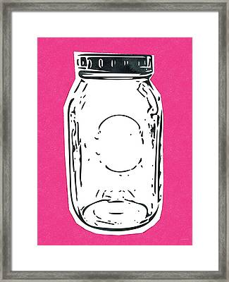Mason Jar Hot Pink- Art By Linda Woods Framed Print