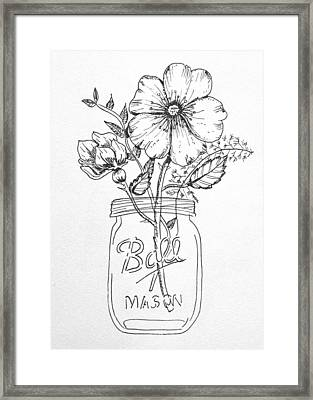 Mason Jar With Flowers Framed Print by Kelly Bowers