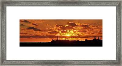 Framed Print featuring the photograph Maspalomas Sunset Panorama by Marc Huebner