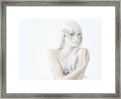 Masquerade In White Framed Print by Diane Diederich