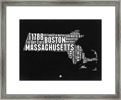 Massachusetts Black And White Word Cloud Map Framed Print by Naxart Studio