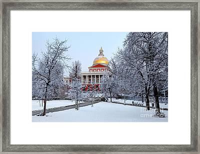 Massachusetts State House In Winter Framed Print by Denis Tangney Jr