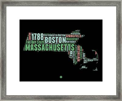 Massachusetts Word Cloud Map 1 Framed Print