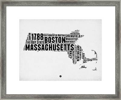 Massachusetts Word Cloud Map 2 Framed Print