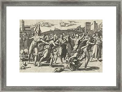 Massacre Of The Innocents Framed Print by Marcantonio Raimondi