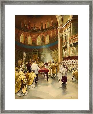 Masses In St. John Lateran In Rome Framed Print