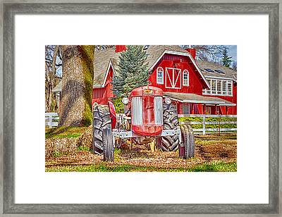 Masseytractor At Red Farm House Framed Print