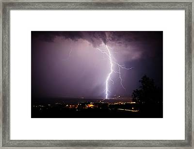 Framed Print featuring the photograph Massive Lightning Storm by Ron Chilston
