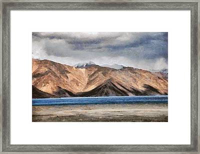 Massive Mountains And A Beautiful Lake Framed Print