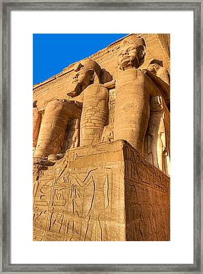 Massive Statues Of Ramses The Great At Abu Simbel Framed Print by Mark E Tisdale