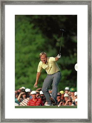 Masters Jack Nicklaus Winning Put 1986 Framed Print by Peter Nowell