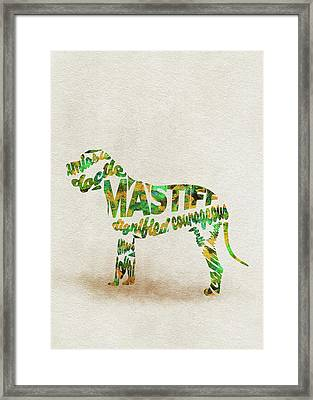 Mastiff Dog Watercolor Painting / Typographic Art Framed Print