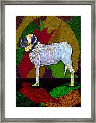 Framed Print featuring the digital art Mastiffically Colorful by Michelle Audas