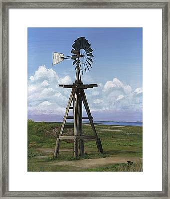 Matagorda Beach Windmill Framed Print