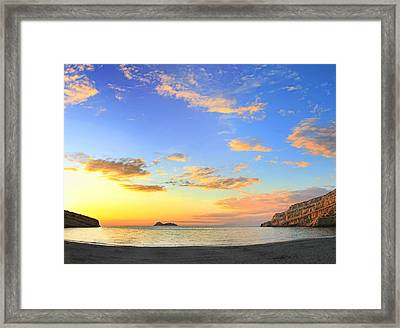 Matala Bay Sunset Framed Print