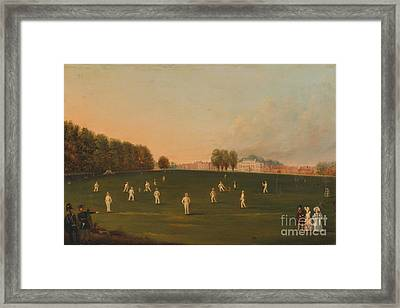 Match Of Cricket At Hampton Court Framed Print