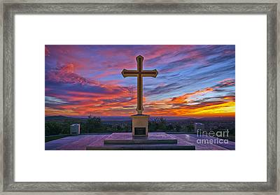 Christian Cross And Amazing Sunset Framed Print by Sam Antonio Photography