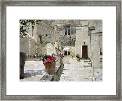Matera With Flowers Framed Print by Italian Art