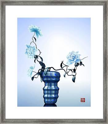 Math Flowers In Blue 1 Framed Print