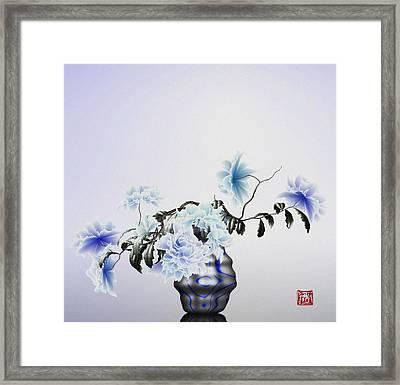 Math Flowers In Blue 2 Framed Print
