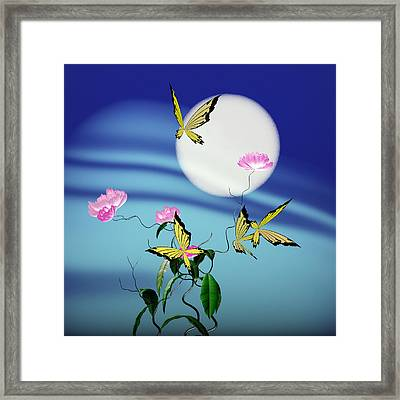 Math Peony And Butterfly Framed Print