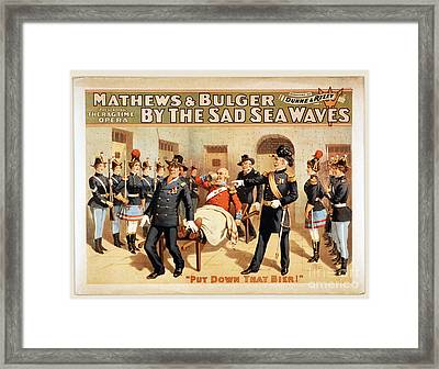 Mathews And Bulger Presenting By The Sad Sea Waves Framed Print by Carsten Reisinger