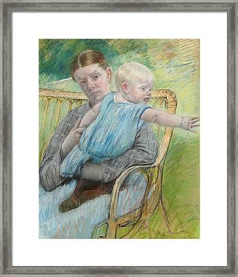 Mathilde Holding A Baby Who Reaches Out To The Right Framed Print by Mary Stevenson Cassatt