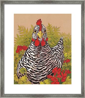 Matilda In The Geraniums Framed Print