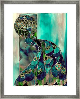 Mating Season Stained Glass Peacock Framed Print