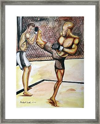 Matt Hughes Vs.georges St-pierre Framed Print by Michael Cook