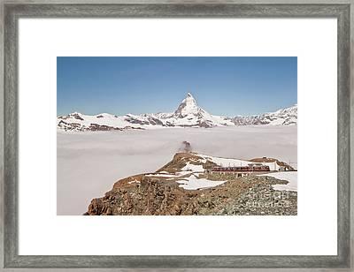 Matterhorn And Fog Framed Print by Christine Amstutz