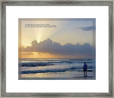 Framed Print featuring the photograph Matthew 28 5-6a by Dawn Currie