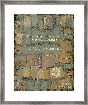 Framed Print featuring the painting Matthew Bible Verse by Carrie Joy Byrnes