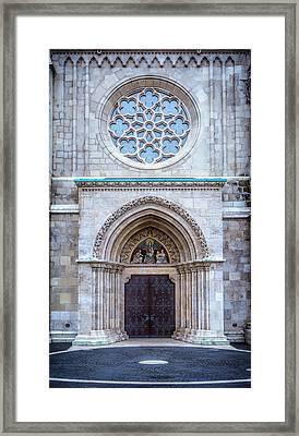 Matthias Church Rose Window And Portal Framed Print by Joan Carroll