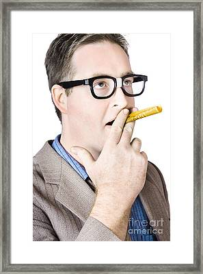 Mature Man Smoking With Banknote Framed Print
