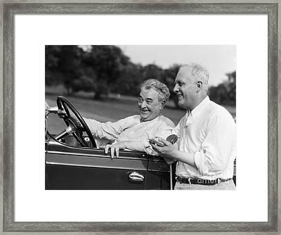 Mature Men At Golf Course, C.1920-30s Framed Print
