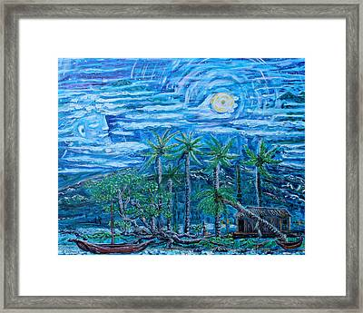 Maui Pearl Moon Framed Print by Podge Elvenstar