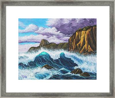 Framed Print featuring the painting Maui Rugged Coast  by Darice Machel McGuire